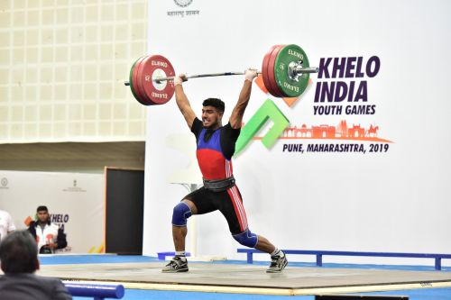 Gold Medalist Baldev Guru (Punjab) in action during U-21 boys 81kg weightlifting category at Khelo India Youth Games