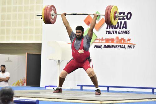 Tejpal Sandhu of Punjab, goldmedal winner in boys U21 +109 kg weightlifting at Khelo India Youth Games