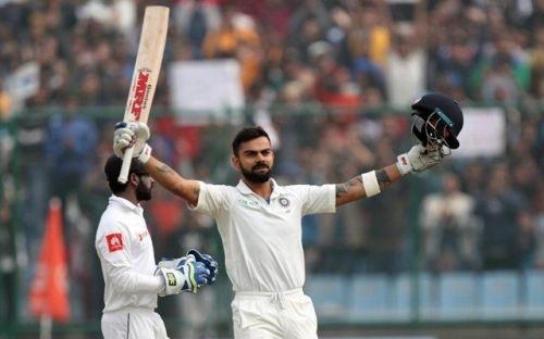 Kohli, after reaching his 6th double ton against Sri Lanka in Delhi