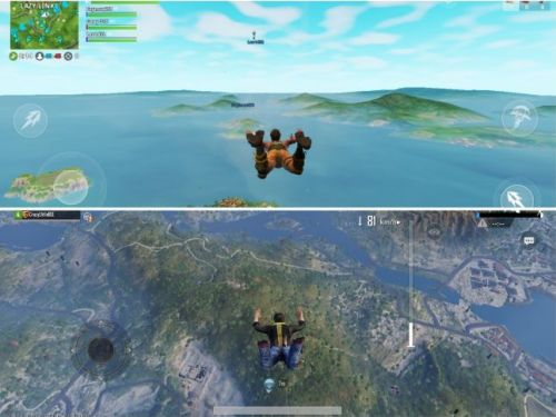 The gameplay of PUBG (D) and Fortnite (U)