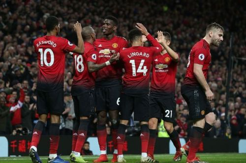 United players celebrate after scoring a goal