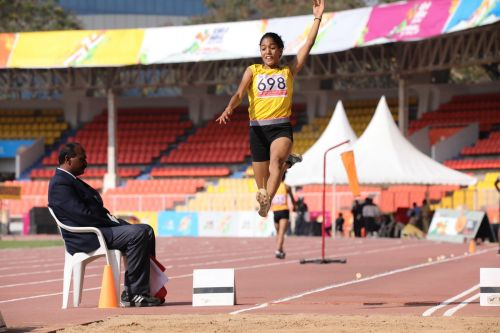 Girls U-21 long jump gold medalist Sherin Abdul Gafoor (Tamil Nadu) in action at Khelo India Youth Games