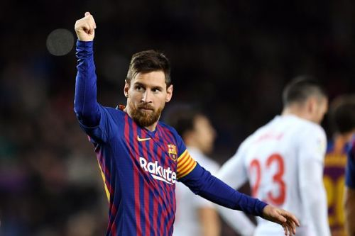 Lionel Messi in action in FC Barcelona v SD Eibar - La Liga