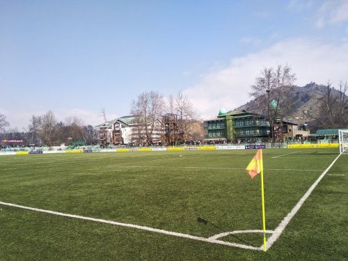 The sky looked clear at the TRC Stadium in Srinagar ahead of Real Kashmir-Chennai City match