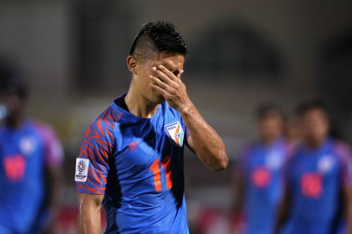 A dejected Chhetri after the match