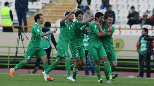 Turkmenistan in celebration after scoring a goal against Japan (Image Courtesy: Foxsportsasia)