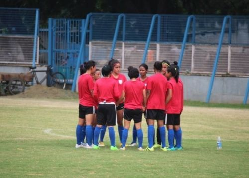 Players of the Indian women's football team