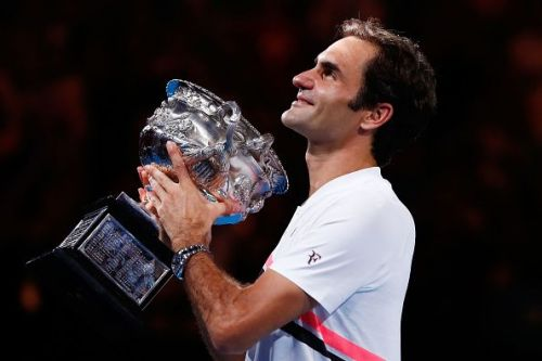Roger Federer with the 2018 Australian Open trophy