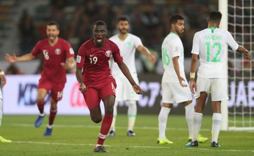 Qatar's Almoez Ali celebrates after scoring against Saudi Arabia at the Zayed Sports City on Thursday. (AFC Media)