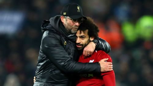 Liverpool's Jurgen Klopp and Mohamed Salah