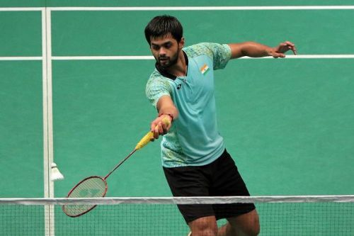 B Sai Praneeth in action at the Malaysia Open