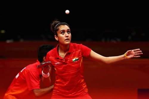 Manika Batra in action during 2018 Commonwealth Games
