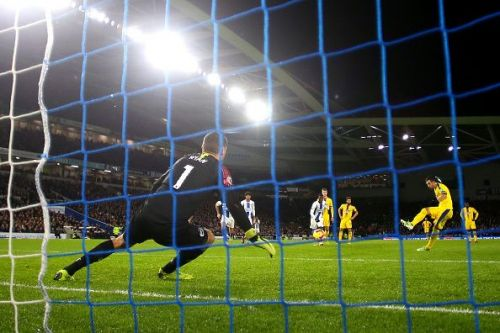 Ryan trying to save a penalty for Brighton & Hove Albion