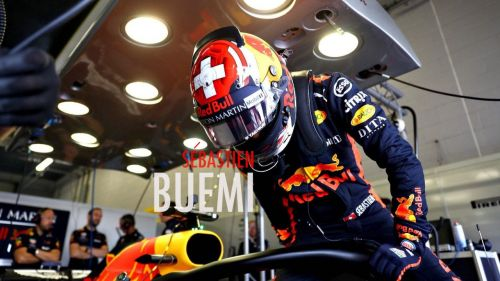 Sébastien Buemi hops into an RB 14 for testing at Silverstone