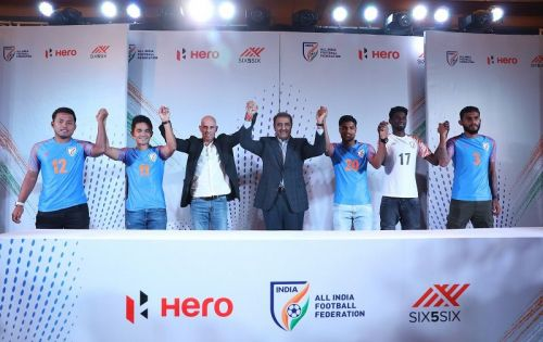 Players of the Indian national football team with coach Stephen Constantine and AIFF president Praful Patel