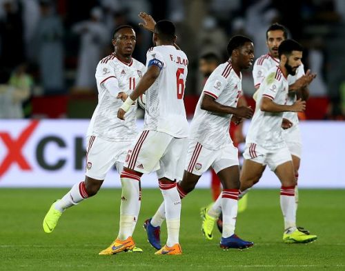 United Arab Emirates players celebrating after scoring a goal