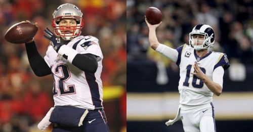 Which quarterback will reign supreme, Tom Brady (L) of the Patriots or Jared Goff (R) of the Rams?
