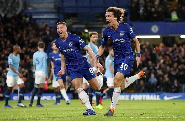 David Luiz celebrates after a second against Manchester City