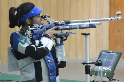 Women's junior (under-21) 10m air rifle gold medallist Mehuli Ghosh (West Bengal) in action at Khelo India Youth Games