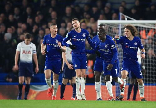 Chelsea players celebrate after N'Golo Kante's goal