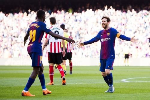 Barcelona superstars - Lionel Messi and Ousmane Dembele