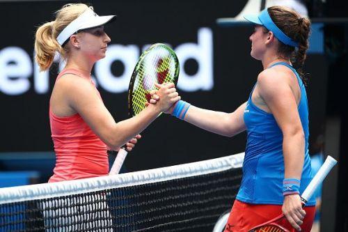 2019 Australian Open - Day 2 - Tamara Zidansek in blue gets past Daria Gavrilova