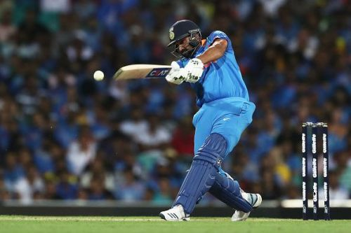 Rohit Sharma plays a shot during the 1st ODI match between India and Australia