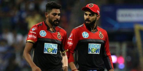 Siraj and Kohli in action for RCB