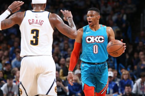 Russell Westbrook dribbling past an opponent earlier this year
