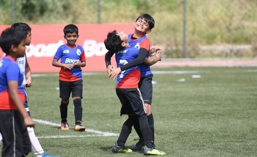 Action from the Boys' category of the Boost BFC Inter School Shield