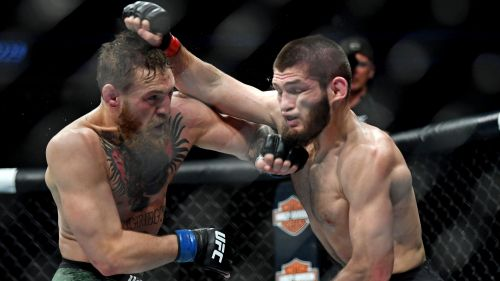 Conor McGregor and Khabib Nurmagomedov in the midst of a wild exchange during their UFC 229 main event bout!