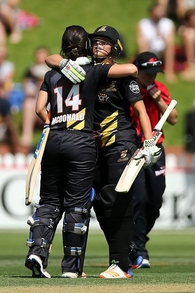 Jess Kerr and Suzie McDonald celebrate Wellington's last-ball win