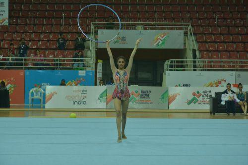 Bavleen Kaur of Jammu & Kashmir in action in Rhythmic Gymnastics at the Khelo India Youth Games