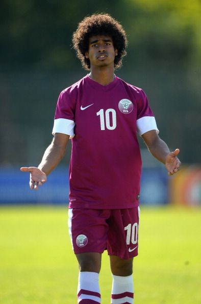 Akram Afif in action for Qatar v Colombia - Toulon Tournament Group B
