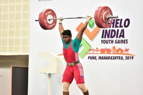 Gold Medalist ASRK Yadav in action during U-17 boys 81kg weightlifting category at Khelo India Youth Games