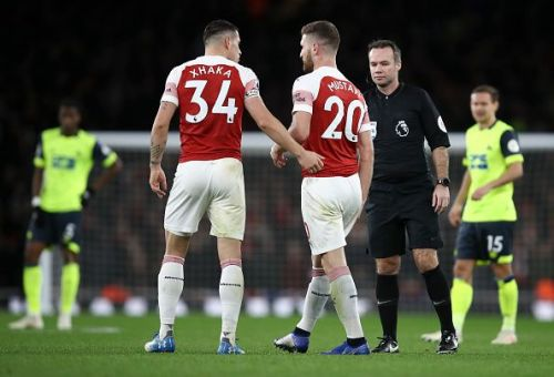 Xhaka and Mustafi during the Huddersfield Town game.
