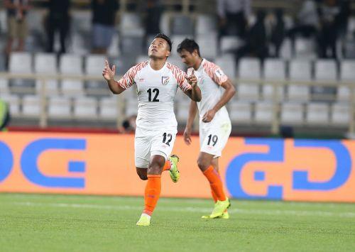 Jeje celebrates after scoring against Thailand [Image: AFC Media]