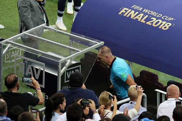 VAR being referred to during the 2018 FIFA World Cup Final