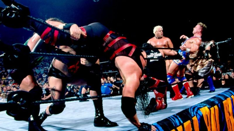 Several wrestlers try to eliminate Kane from the 2003 Royal Rumble