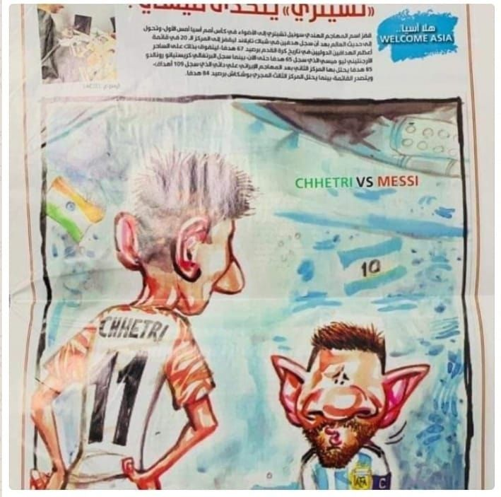 A cartoon published in a UAEnewspaper after Chhetri had surpassed Messi
