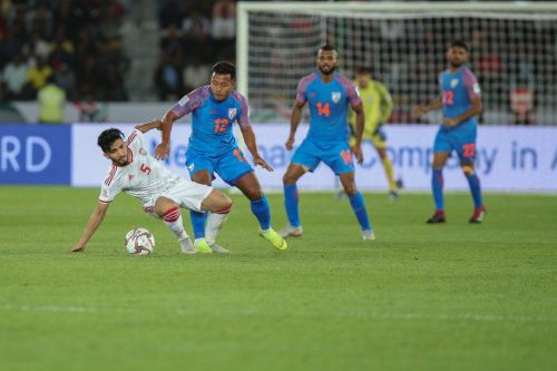 Jeje Lalpekhlua of India in action against UAE during their Asian Cup match