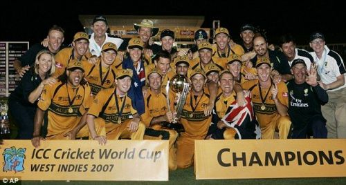 Australian team with their fourth World Cup trophy