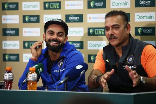 Virat Kohli and Ravi Shastri during the press conference at the end of the Sydney Test