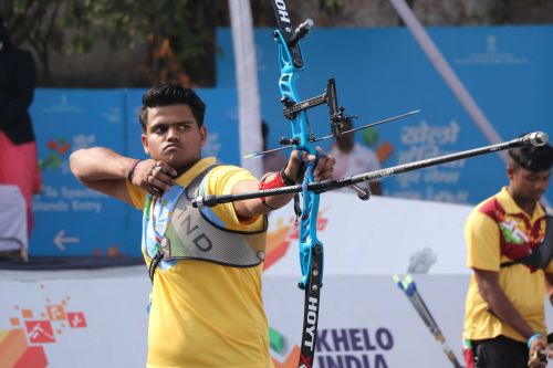 Sachin Gupta (Haryana), gold medallist in U-21 Boys Recurve Archery at Khelo India Youth Games