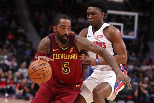 J.R. Smith for the Cleveland Cavaliers v Detroit Pistons