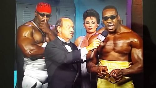 Booker T., flanked by brother Stevie Ray and manager Sensational Sherri Martel, got a little bit too excited in this classic interview.