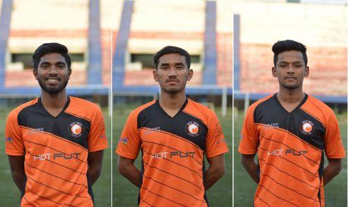 From left to right, New Signings from Delhi Dynamos FC, Amit Tudu (on loan), Kishan Singh Thongam, and Krishan Kumar