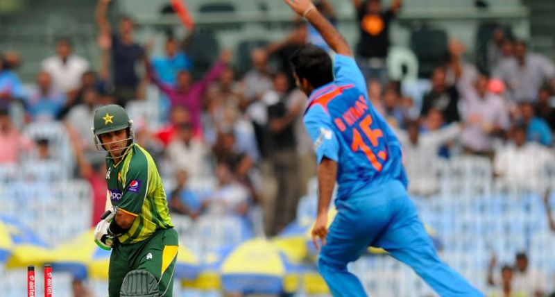 Bhuvneshwar Kumar castled Mohammad Hafeez off the very first ball of his ODI career