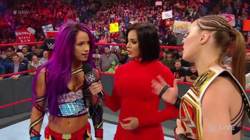 Rousey and Banks got into a little argument after the match