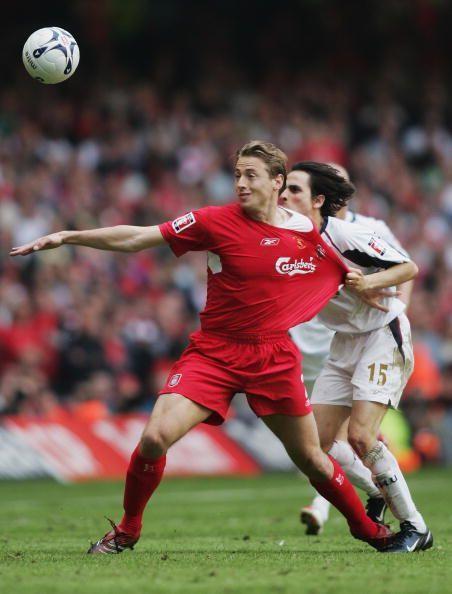 Jan Kromkamp in the red of Liverpool